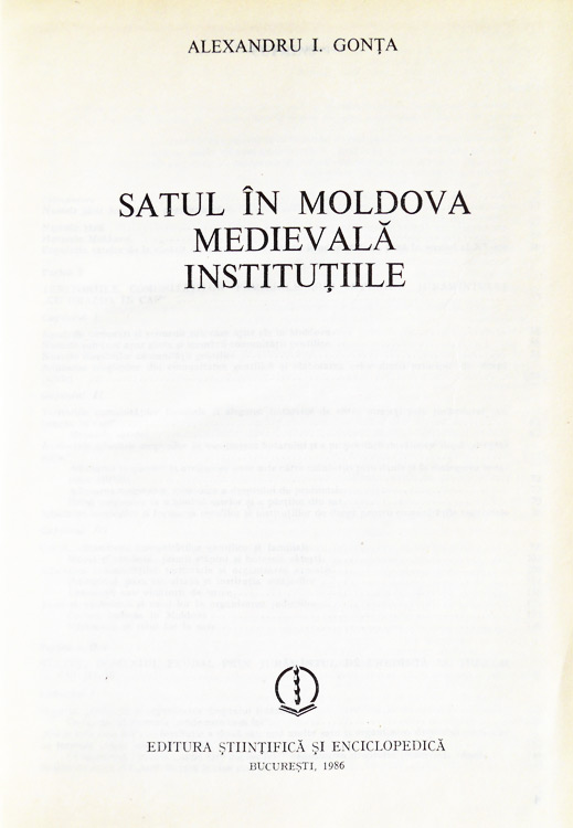 Satul in Moldova medievala. Institutiile - Alexandru I. Gonta