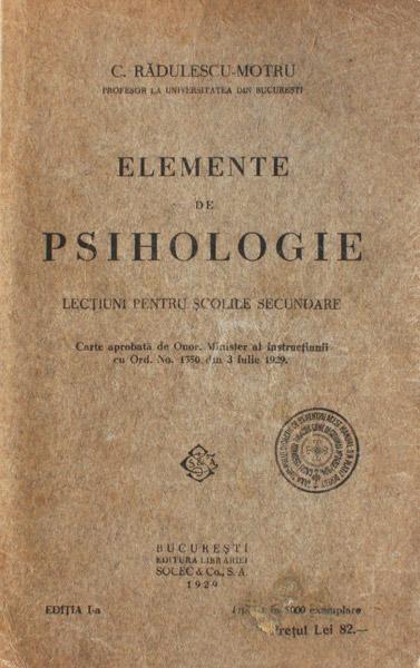 Elemente de psihologie (1930) - C. Radulescu-Motru
