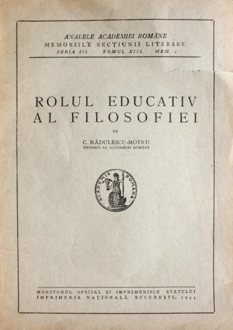 Rolul educativ al filosofiei (editia princeps