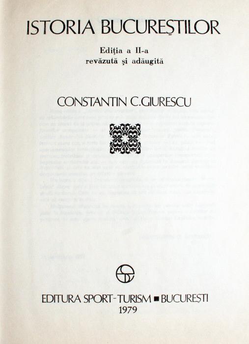 Istoria Bucurestilor - Constantin C. Giurescu