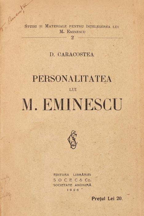 Personalitatea lui M. Eminescu - D. Caracostea